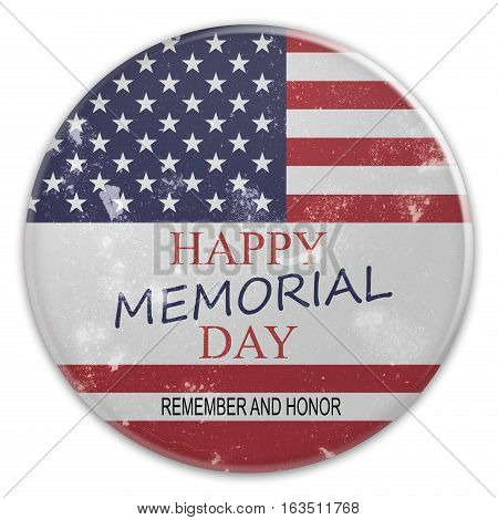 Dirty Vintage Happy Memorial Day Badge On US Flag 3d illustration