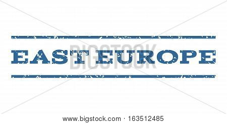 East Europe watermark stamp. Text caption between horizontal parallel lines with grunge design style. Rubber seal stamp with unclean texture. Vector cobalt color ink imprint on a white background.