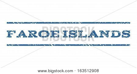 Faroe Islands watermark stamp. Text caption between horizontal parallel lines with grunge design style. Rubber seal stamp with dirty texture. Vector cobalt color ink imprint on a white background.