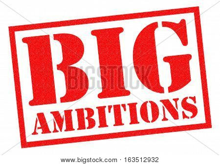 BIG AMBITIONS red Rubber Stamp over a white background.