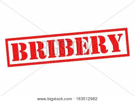 BRIBERY red Rubber Stamp over a white background.