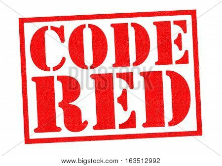 CODE RED red Rubber Stamp over a white background.