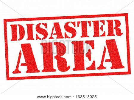 DISASTER AREA red Rubber Stamp over a white background.