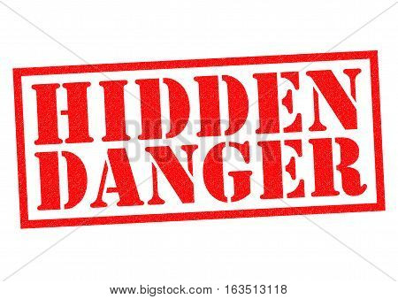 HIDDEN DANGER red Rubber Stamp over a white background.