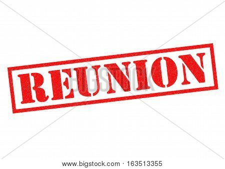 REUNION red Rubber Stamp over a white background.