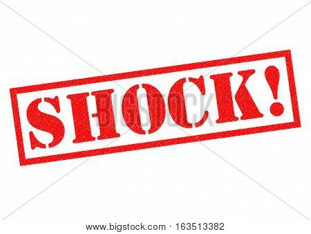 SHOCK! red Rubber Stamp over a white background.