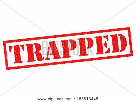 TRAPPED red Rubber Stamp over a white background.