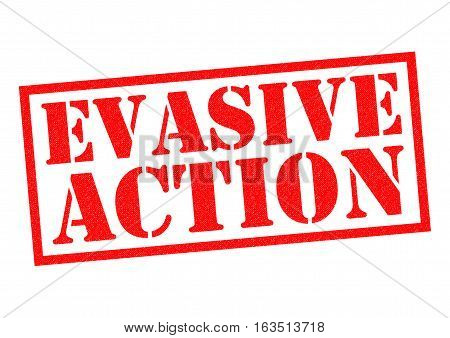 EVASIVE ACTION red Rubber Stamp over a white background.