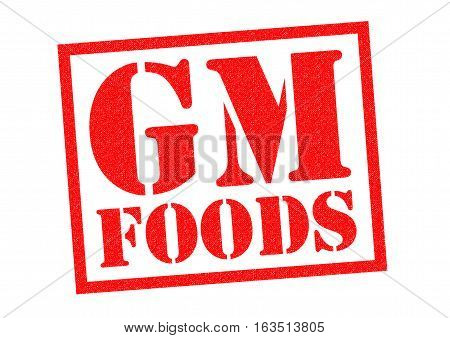 GM FOODS red Rubber Stamp over a white background.