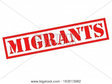 MIGRANTS red Rubber Stamp over a white background.