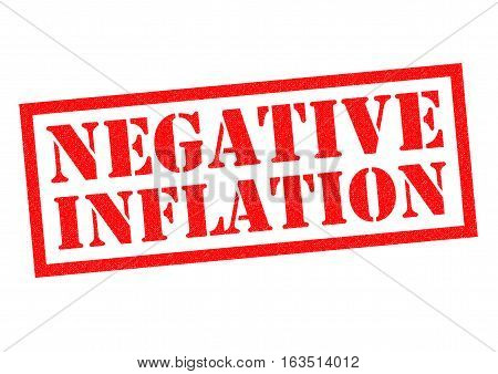 NEGATIVE INFLATION red Rubber Stamp over a white background.