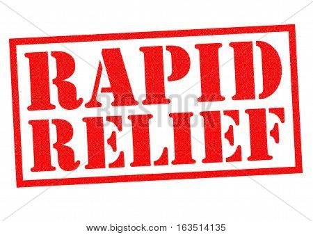 RAPID RELIEF red Rubber Stamp over a white background.