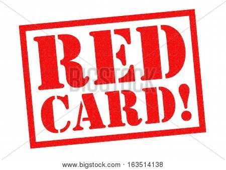 RED CARD! red Rubber Stamp over a white background.