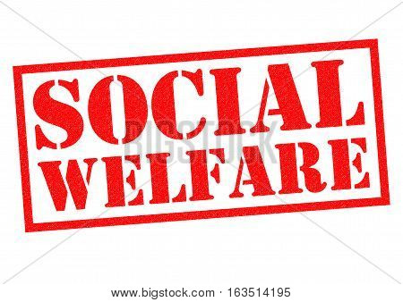 SOCIAL WELFARE red Rubber Stamp over a white background.