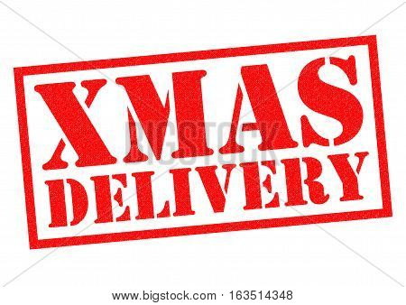 XMAS DELIVERY red Rubber Stamp over a white background.