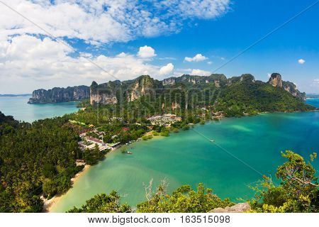 Stunning view of Railay Bay from the top of the mountain, Krabi Province, Thailand.