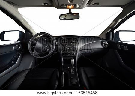 Interior of clean modern pickup truck car with isolated windows and leather seat