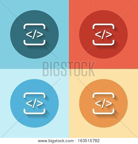 development html flat icon set on color backgrounds