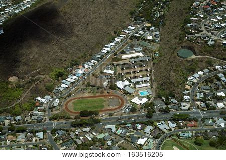 Aerial view of Kalani High School and Surrounding Area on Oahu Hawaii.