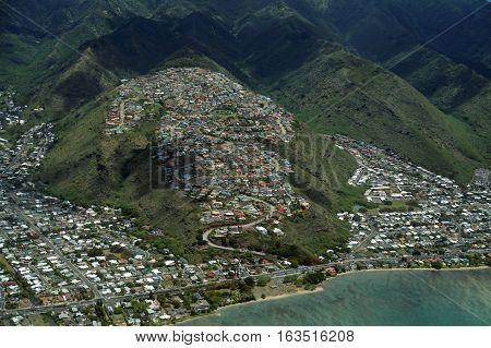 Aerial of Kawaikui Beach Park Maunalua Bay Nui Valley and Aina Haina on the east shore of Oahu Hawaii.