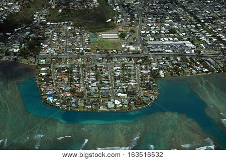 Aerial of Wailupe Peninsula along Kalanianaole Hwy on the south east coast of Oahu Hawaii.