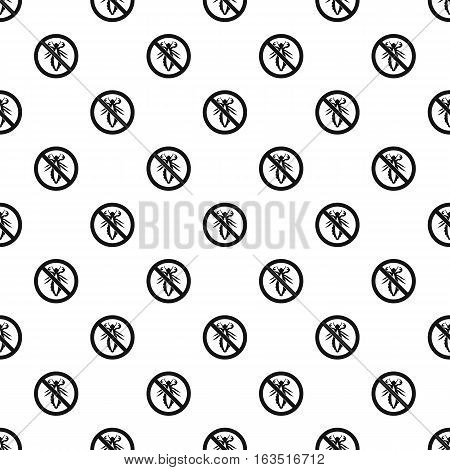 Prohibition sign insects pattern. Simple illustration of prohibition sign insects vector pattern for web