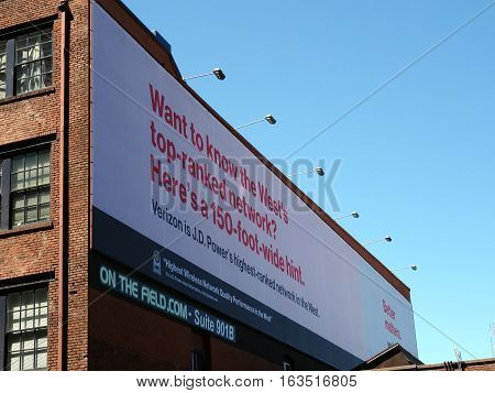 SEATTLE - JUNE 26: Verizon Ad on 150-foot-Wide Billboard brags about their cellphone service in Seattle in June 26 2016.