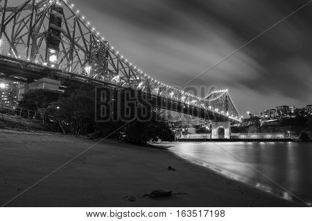 The iconic Story Bridge in Brisbane Queensland Australia. Black and White.
