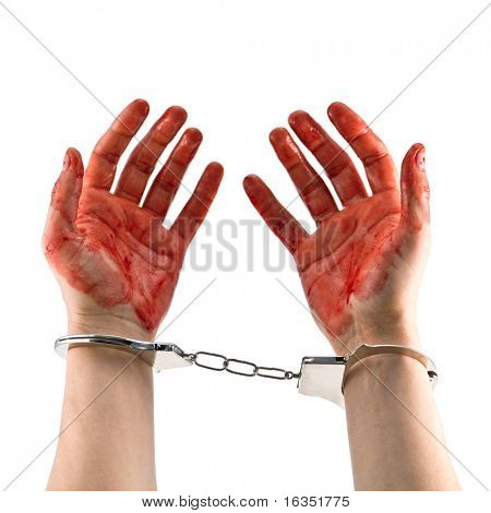 bloody murderer hands isolated on white