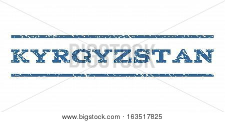 Kyrgyzstan watermark stamp. Text tag between horizontal parallel lines with grunge design style. Rubber seal stamp with dust texture. Vector cobalt color ink imprint on a white background.