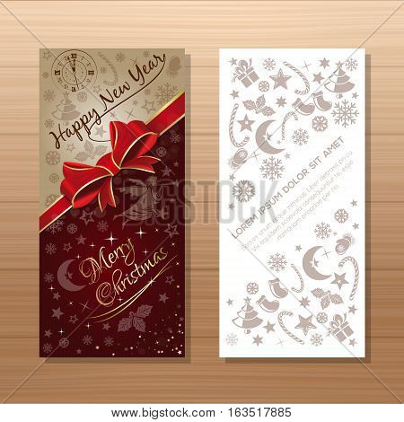 Christmas flyers template. Festive vector gift card with Christmas angel, antique clock, Christmas decorative elements and greeting inscription - Merry Christmas and Happy New Year