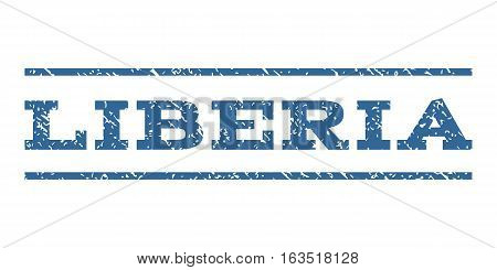 Liberia watermark stamp. Text tag between horizontal parallel lines with grunge design style. Rubber seal stamp with unclean texture. Vector cobalt color ink imprint on a white background.