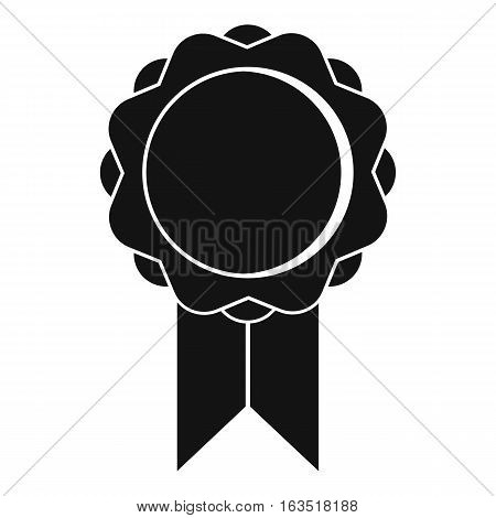 Rosette with ribbon icon. Simple illustration of rosette with ribbon vector icon for web