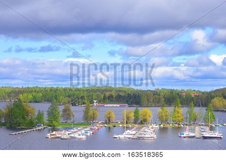 View of Lappeenranta city and Saimaa lake. Lappeenranta - city and municipality in Finland in the province of Eastern Finland.