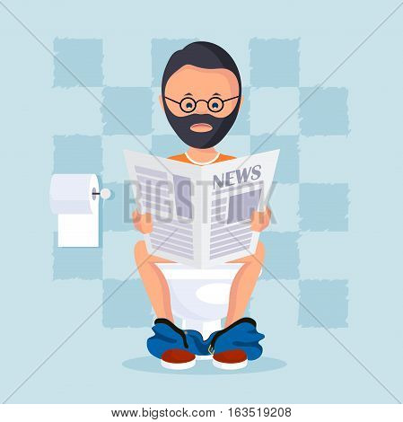 On the image presented Person in the toilet room sitting on a toilet bowl reads a morning paper. Vector illustration flat style.