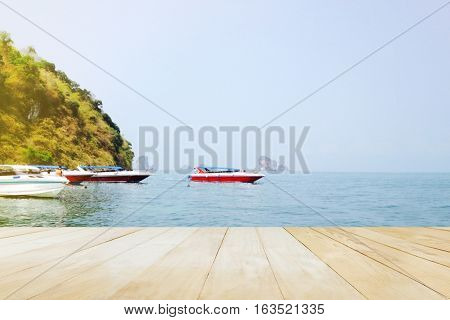 Blank Space Area Joint Wood Floor Or Table Top View At Sea