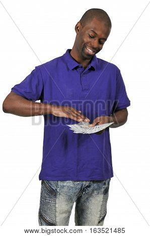 African American Black Man making it rain with cash money