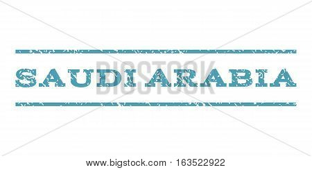 Saudi Arabia watermark stamp. Text tag between horizontal parallel lines with grunge design style. Rubber seal stamp with scratched texture. Vector cyan color ink imprint on a white background.