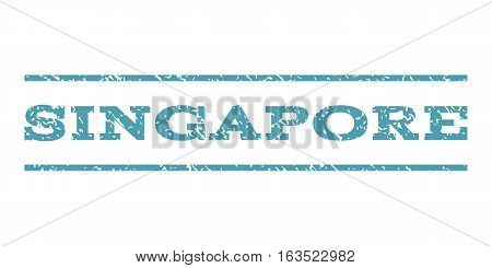Singapore watermark stamp. Text caption between horizontal parallel lines with grunge design style. Rubber seal stamp with unclean texture. Vector cyan color ink imprint on a white background.