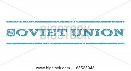 Soviet Union watermark stamp. Text caption between horizontal parallel lines with grunge design style. Rubber seal stamp with scratched texture. Vector cyan color ink imprint on a white background.