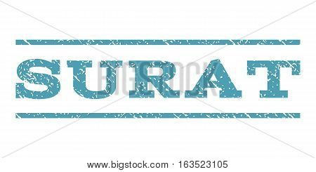 Surat watermark stamp. Text caption between horizontal parallel lines with grunge design style. Rubber seal stamp with dust texture. Vector cyan color ink imprint on a white background.