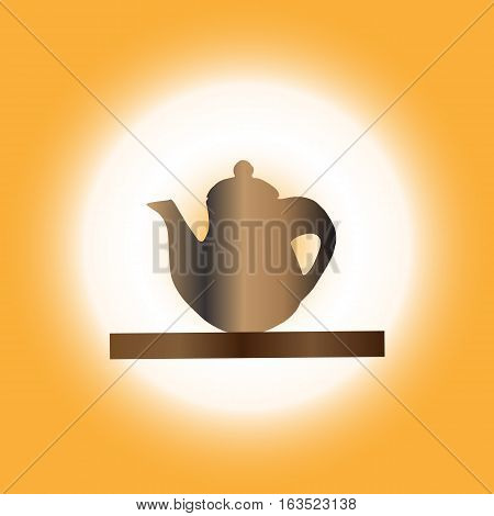 teapot Icon on table floor isolated on Orange background . Vector illustration with eps 10