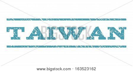 Taiwan watermark stamp. Text caption between horizontal parallel lines with grunge design style. Rubber seal stamp with scratched texture. Vector cyan color ink imprint on a white background.