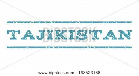 Tajikistan watermark stamp. Text caption between horizontal parallel lines with grunge design style. Rubber seal stamp with dirty texture. Vector cyan color ink imprint on a white background.