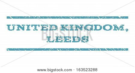 United Kingdom, Leeds watermark stamp. Text tag between horizontal parallel lines with grunge design style. Rubber seal stamp with scratched texture.
