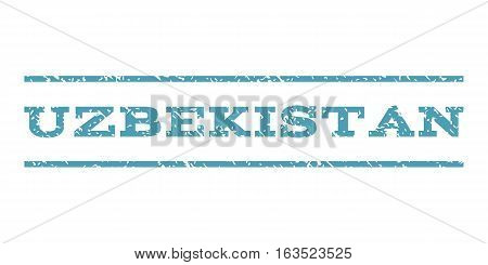 Uzbekistan watermark stamp. Text tag between horizontal parallel lines with grunge design style. Rubber seal stamp with dust texture. Vector cyan color ink imprint on a white background.