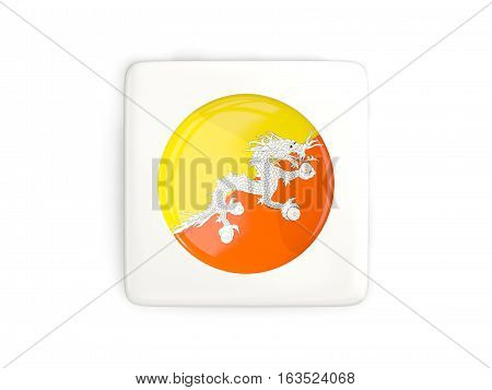 Square Button With Round Flag Of Bhutan