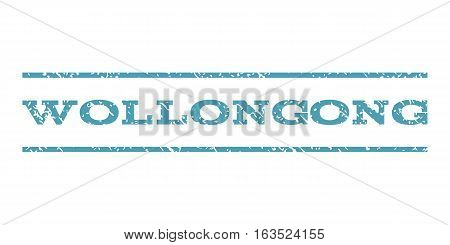 Wollongong watermark stamp. Text tag between horizontal parallel lines with grunge design style. Rubber seal stamp with dirty texture. Vector cyan color ink imprint on a white background.