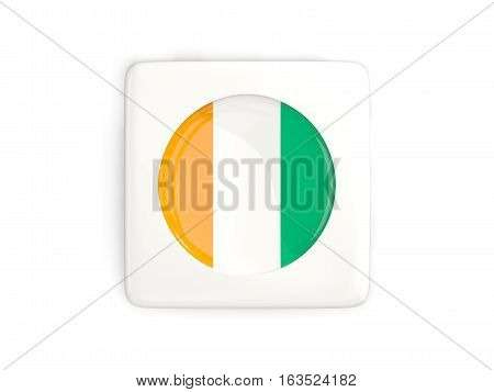 Square Button With Round Flag Of Cote D Ivoire