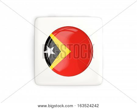 Square Button With Round Flag Of East Timor